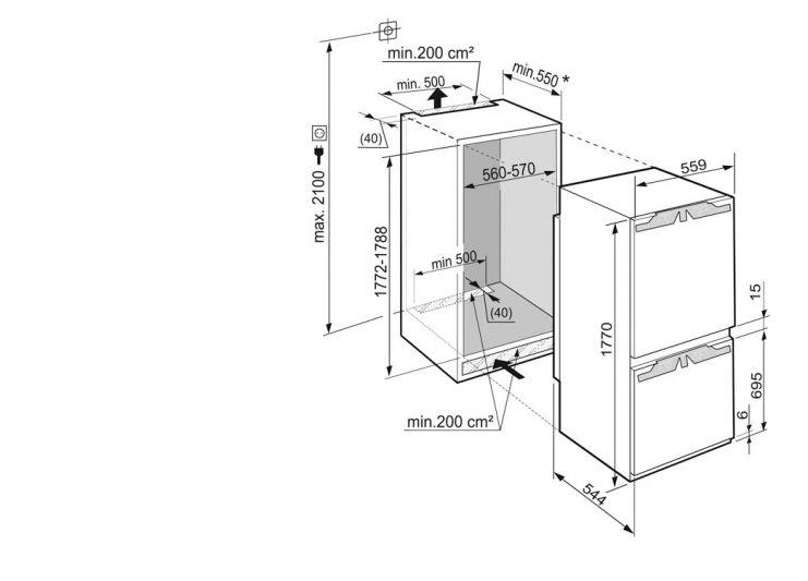 Комбиниран хладилник за вграждане Liebherr ICU 3324