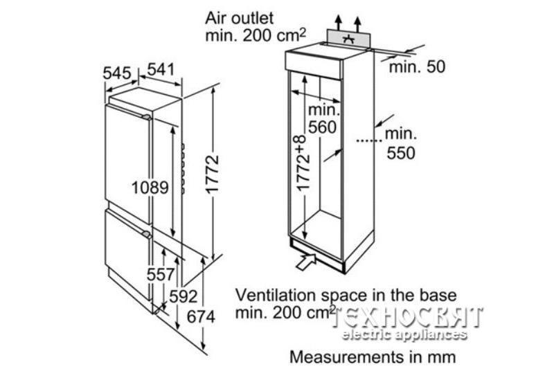 Комбиниран хладилник за вграждане KIV38X20
