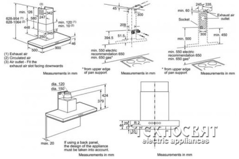 Коминен тип аспиратор Bosch DWB09T150